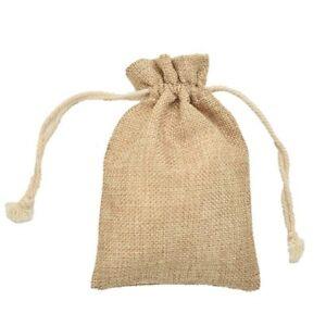 Small Burlap Jute Hessian Wedding Favor Gift Bags Drawstring Sack Pouch 7 x 9cm