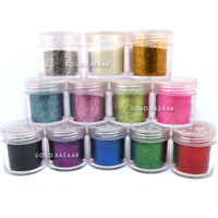 12 COLORS NAIL ART TIPS GLITTER POWDER DUST DECORATION FOR ACRYLIC UV TIPS