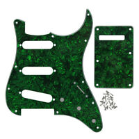 Set of Strat Guitar SSS 11 Holes Pick Guard + Back Plate Tremolo Cover 4 Ply