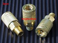 3 PC BRASS MALE QUICK CONNECTOR AIR HOSE COMPRESSOR COUPLERS  1/4 TOOLS MALE END
