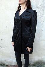 Denny Rose Jacket Double Breasted Blazer Jacket Coat Shiny Black Made in Italy L