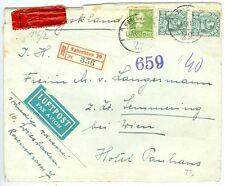 DENMARK: Registered express censored airmail cover to Austria 1944.