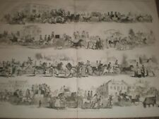 Horse Racing Epsom Races scenes on the road by Gilbert 1845 print ref D