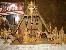 Vtg FONTANINI Christmas Nativity Jesus Set w/Box 12pc Creche Manger Roman 1980s