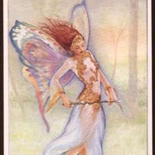 """STRIKING """"WOODLAND FAIRY"""" ,IRREDESCENT BUTTERFLY WINGS,WILLIS FANTASY POSTCARD"""