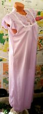 Vintage Purple Satin Shiny Shabby Chic Romantic Embroidered Nightgown Sz L