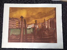 "JOHN BRUNSDON RE 1933-2014 Large Limited Edition ETCHING ""Rialto Bridge"" 55/150"