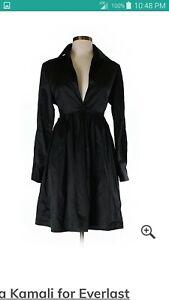 VINTAGE NORMA KAMALI EVERLAST BLACK SHIRT WAIST SHORT FLARE DRESS XS