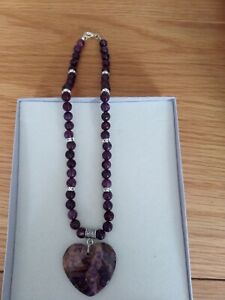 "Brand New Lepidolite & Agate Love Heart  18"" Necklace"
