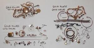 Huge lot of Gold Filled & plated wearable jewelry and scrap. 248 grams. #352