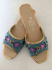 Vintage Nwot Sequin and Beaded Blue Velvet Slides Shoes 7