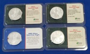 4 US 1ozt .999 BU Silver Eagle $1s 1998/01/03/05 Littleton packaging L10432