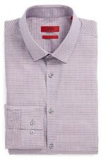 $295 HUGO BOSS Men SLIM-FIT BLUE WHITE CHECK LONG-SLEEVE DRESS SHIRT 15 32/33 M