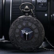 Taschenuhr Römische Zahlen Uhr mit Kette Herren Schwarz Vintage Quarz Tasche NEU