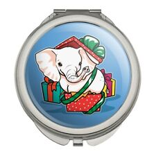 White Elephant In Present Gift Box Compact Purse Handbag Makeup Mirror
