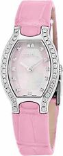 Ebel  Women's Beluga Tonneau MOP Dial Leather Strap Diamond Quartz Watch 1216255