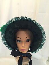 Victorian Repro Ladies Bonnet Dk Green Costume, Reenactment, Halloween, Plays