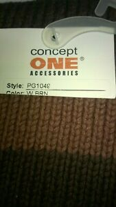 Concept One Knitted Scarf Warm Brown Stripe Logo One Size Men's Accessories
