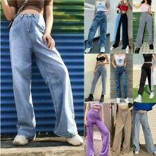 Women Jeans High Waist Wide Leg Denim Trousers 2020 Fashion Straight Pants Blue