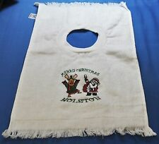 Embroidered Santa & Rudolph on a White Large Pull Over Towel Toddler Baby Bib