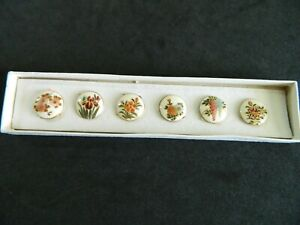Set 6 FLOWERS Antique Vtg SATSUMA Porcelain Japanese Buttons In original BOX