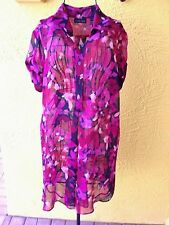"NWOT""NEW YORK COMPANY""Floral Semi Sheer Short Sleeve Tunic Top/Blouse Size S."