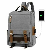 Fashion Mens Leather School Backpack USB Charger Laptop Casual Travel Bag BL