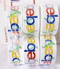 "Six Rolls eBay Branded Logo Shipping Tape 75 yards x 2"" Sealed New Stock 8/22"