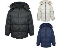 Boys Kids Stylish Padded Jacket Quilted Puffer Winter Coat Hood Black Blue White