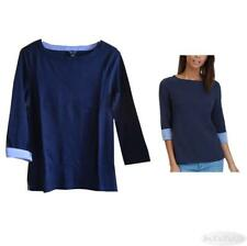 Nautica Womens Cotton Chambray Cuff Top Navy Size S-M NWT