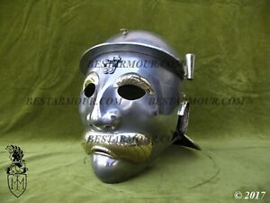 18GA Medieval Gladiator Maximus Helmet Knight Armor Helmet Reenactment Repli Q28