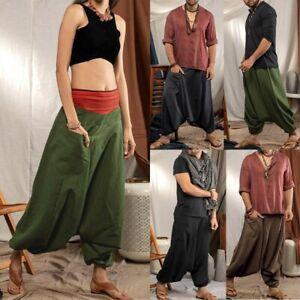 Haremshose Hippie Aladin Pump Boho Baggy Goa Yoga Jumpsuit Männer Damen Herren