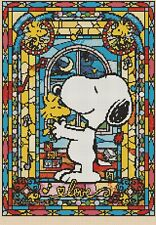 Snoopy & Woodstock Stained Glass 359 cross stitch chart Flowerpower 37-uk