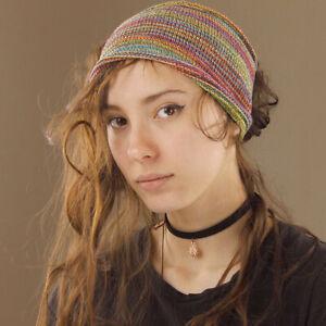 Extra Wide Stretch Fit Rainbow Stripe Headband Hippy Boho Gypsy 100% Cotton