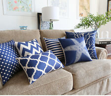 Navy Blue Stripes Zigzags Dots Starfish Coral Cushion Cover Throw Pillow Case