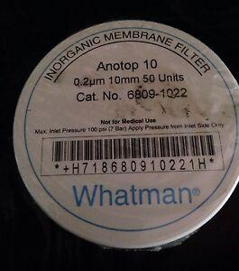 Whatman Anotop 10 0.2um 10mm Syringe Filters Pk50 Laboratory 6809-1022