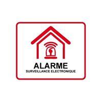 Autocollant Etablissement maison magasin sous vidéo surveillance alarme 7 5x5 cm