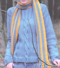 Ladies Soft Merino Aran Cable Sweater Slash Neckline Knitting Pattern