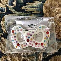 Large White Multicolor Rhinestone Heart Dangle Earrings
