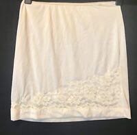 "Vintage Small Half Slip  Lingerie Off White Lace Nylon Length 20"""
