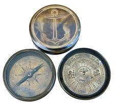 Kompass & Dauerkalender im Dosenformat - Massiv Messing - Antik Look - sc-8526