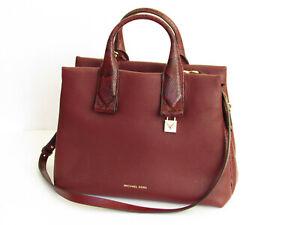 Michael Kors Rollins Maroon Leather Large Satchel Tote Shoulder Bag