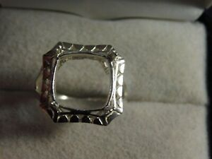 Art Deco Style Cushion or Square11 mm Semi-Mount Ring Sterling Silver