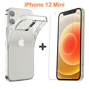 For Apple iPhone 12 Mini Clear Case Cover and Soft Front Screen Protector Film