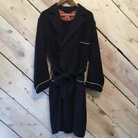 Vintage Brooks Brothers 100% Wool Double Breasted Coat Womens Sz Large Navy Blue