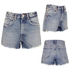 Womens Denim Shorts Hot Pants With Cut Raw Hem - Mid Wash