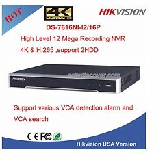 Genuine US Hikvision H.265 16CH Ultra HD 4K UHD NVR 12MP 16 PoE DS-7616NI-i2/16P