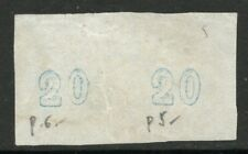 """GREECE 1868/69 - pair 20L Large Hermes (p. 5+6) with Plate Flaw & """"0"""" Inverted"""