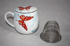 Teetasse mit Sieb und Deckel Bijou Schmetterling Butterfly  Könitz Kuschelbecher