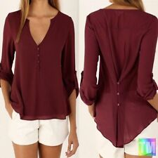 Chiffon V Neck Classic Tops & Shirts for Women